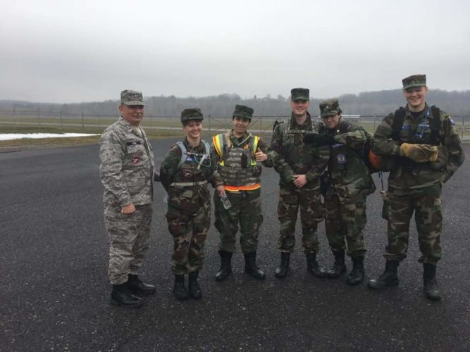 senior member and cadets from the West Virginia Wing are shown in Petersburg. (Submitted photo)