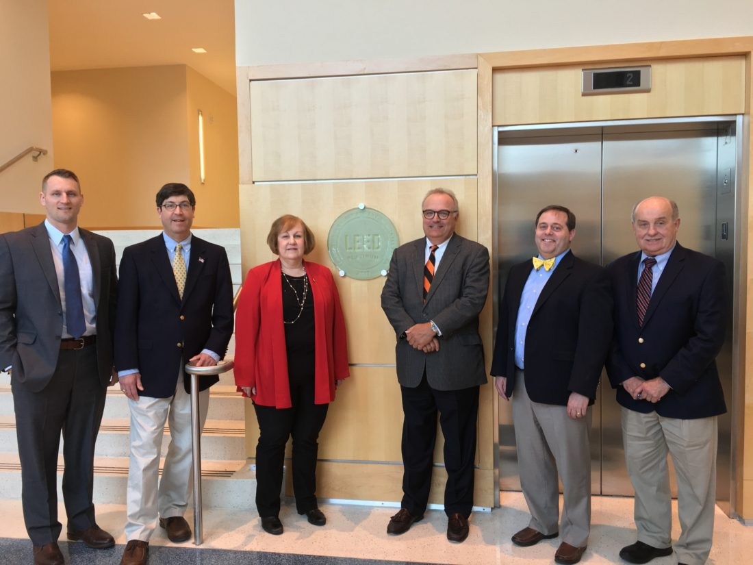 Shown, from left, are Taylor Davis, vice president of Business Development, Morgan-Keller Construction; Richard W. Sunderland, executive vice president, Chief Financial Officer, APUS; Dr. Karan Powell, president, APUS; Dr. Wallace E. Boston, Chief Executive Officer, American Public Education Inc.; Scott Bowen, architect/principal, MSB Architects; Jerry Bowman, executive vice president, Morgan-Keller Construction.  (Submitted photo)