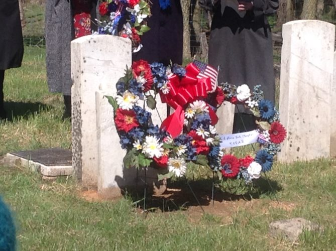 (Submitted photo) Chapters Pack Horse Ford & Bee Line wreaths mark William Darke's grave.