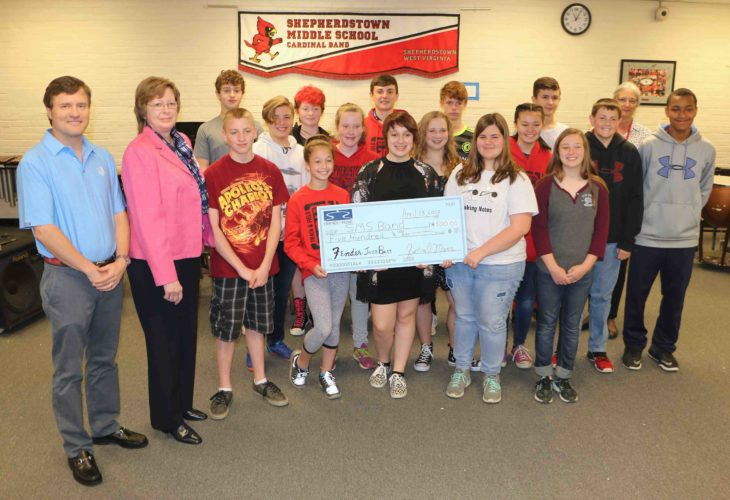 "Members of Shepherdstown Middle School Jazz Band receive a check from ""The Friends of Music."" (Submitted photo)"