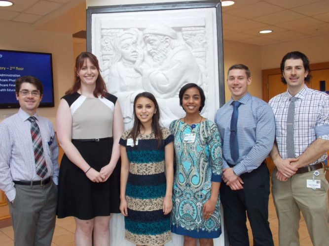 Shown, from left, are Joe Malone, honorable mention; Morgan Johnson, second place; Sara Chowdhury, first place; Sharada Baharani, MD, third place; Taylor Hockman and Eric Weidert, honorable mention. (Submitted photo)
