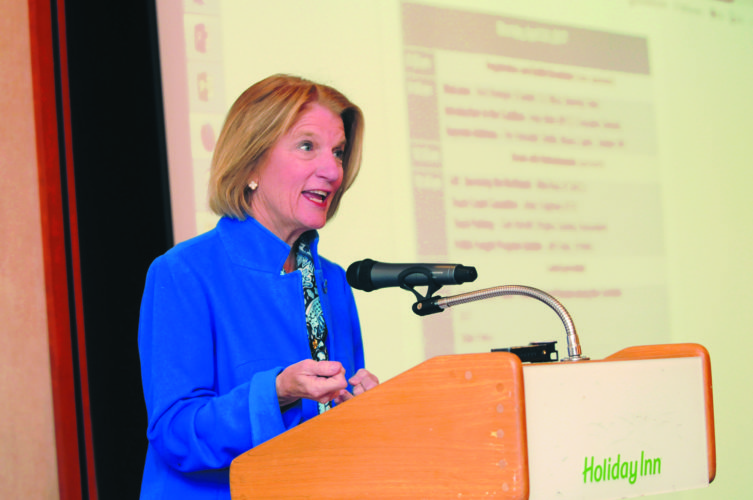Journal photo by Ron Agnir U.S. Sen. Shelley Moore Capito speaks at the I-81 Corridor Coalition on Monday in Martinsburg.