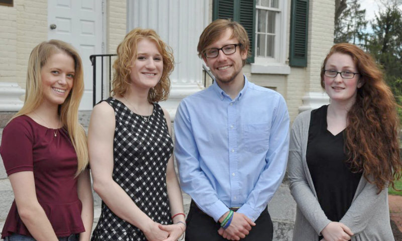 Winners of the annual Congressional Term Limits competition are Shepherd University students, from left, Desiree Rose, Hedgesville, honorable mention; Meredith Blady, Martinsburg, honorable mention; Will Wheatly, Harpers Ferry, first prize; Rebecca Kamp, Martinsburg, second prize. Not pictured are Laura Knock, Kearneysville, third prize; Derek Metz, Martinsburg, honorable mention; and Mikayla Duhaime, Saratoga Springs, New York, honorable mention. (Submitted photo)