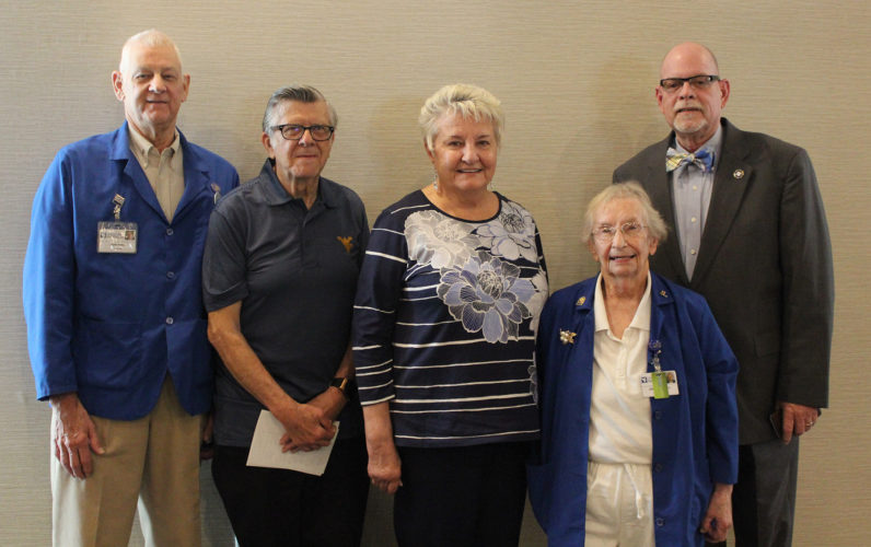 Pictured, from left, are John Birl (5,617 hours), Chester Poplawski (795 hours), Barbara Adams (142 hours), Jody Wandell (449 hours), and Pastor Eddie Edmonds, Chaplain Liaison, were some of the volunteers honored during Berkeley Medical Center's National Volunteer Week luncheon held on April 26. (Submitted photo)