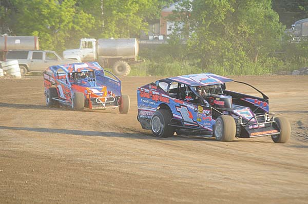 Rocky Warner (1J) leads Mark Mortensen (1M) during sportsman action at Fonda Speedway on June 18. Warner won the track title in the division at both Fonda Speedway and Glen Ridge Motorsports Park. (The Leader-Herald/James A. Ellis)