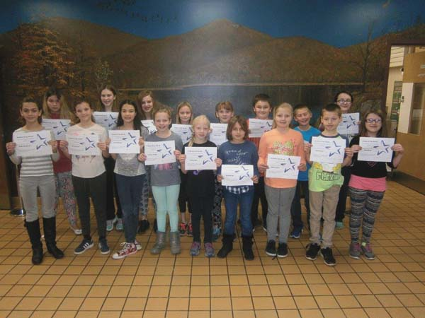 Warren Street Elementary School, Johnstown, has announced students of the month for NovemberÕs Strive for Five character trait of cooperation. Students are Lindsay Sweet, Tessa Harvey, Anabel Stegel, Sabrina Stanton, Hailey Rising, Connor Sitts, Brooke Weaver, Caroline Krempa, Gianna Ranaldo, Giada Weatherwax, Samantha Dorn, Reegan Wilcox, Amia Hall, Naomi Warn, Emilia Haverly, Tyler Downing and Bruce Schnurr. Emily Anderson is not shown. (Photo submitted)