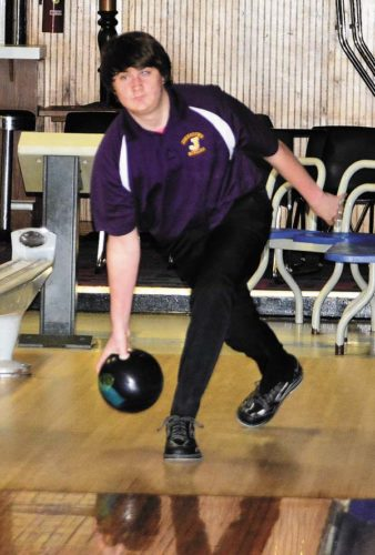 Johnstown's Hunter Meher warms up prior to Wednesday's Foothills Council match against Gloversville at Perry Lanes in Johnstown. (The Leader-Herald/Bill Trojan)