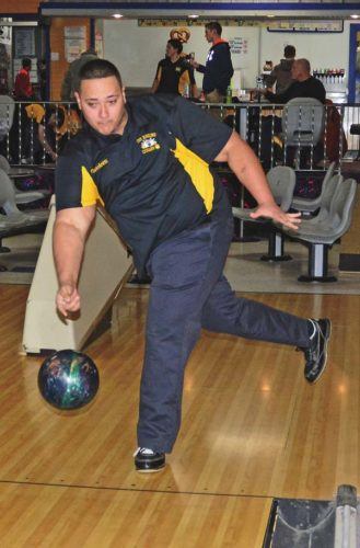 Canajoharie's Jimmy Fiaschetti warms up prior to a Nov. 21 match against Fonda-Fultonville at Kelly's Imperial Bowling Center in Amsterdam. (The Leader-Herald/Bill Trojan)