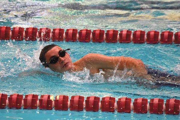 Michael Dormond of the Amsterdam Sea Rams swim team competes during the Pilgrims Pride meet at Rensselaer Polytechnic Institute in Troy on Nov. 12.  (Photo contributed by Sarah Dzikowicz)