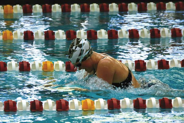 Emily Miles of the Amsterdam Sea Rams swim team competes during the Pilgrims Pride meet at Rensselaer Polytechnic Institute in Troy on Nov. 12.  (Photo contributed by Sarah Dzikowicz)