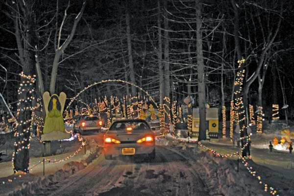 Cars stop and take photos as they travel along the light display. (The Leader-Herald/Opal Jessica Bogdan)