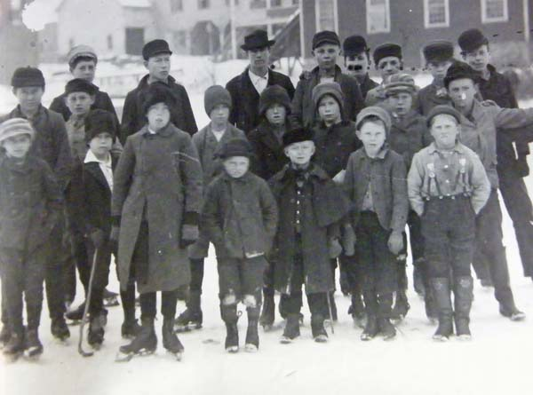 In this winter 1890 photo, young skaters, some holding homemade hockey sticks, stand in Amsterdam's Rockton section. The group likely skated on McClary Mills millpond. (Photo submitted)
