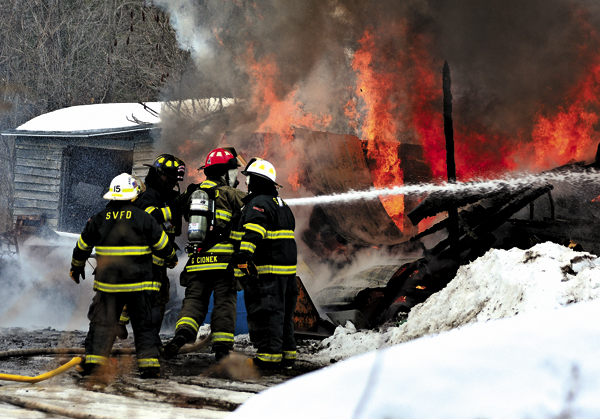 A fire in the hamlet of Sammonsville leveled a storage garage owned by R Bentley Tree Service on Tuesday. Firefighters from Sammonsville, Town of Mohawk and Meco responded. (The Leader-Herald/Bill Trojan)