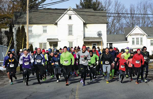 The start of the 31st annual Winter Wimp foot race sponsored by the Fulmont Roadrunners Club on North Pawling Street in Hagaman on Saturday. (The Leader-Herald/Bill Trojan)