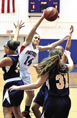Broadalbin-Perth's Isabella Magliocca (14) passes the ball while under pressure from Albany Academy for Girls Cydney Owens (33) and Adria Castracane (31) in non-league action Saturday at Broadalbin-Perth High School. (The Leader-Herald/Bill Trojan )