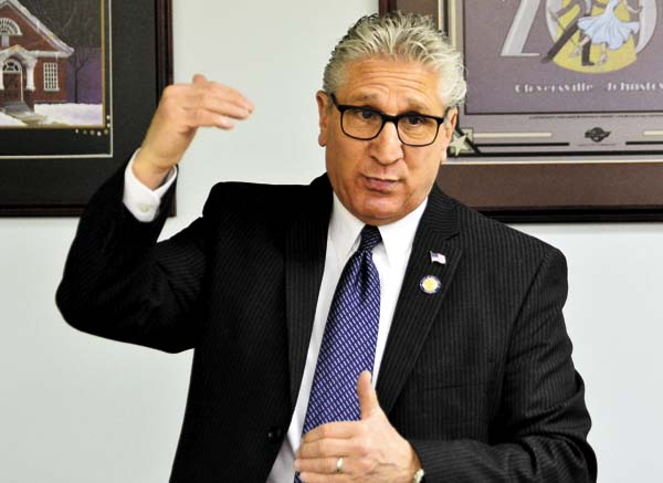 State  Sen. James  Tedisco  addressed  a panel of  business  leaders at the Fulton  Montgomery Regional  Chamber of Commerce  office in Gloversville this morning.  (The Leader-Herald/ Bill Trojan )