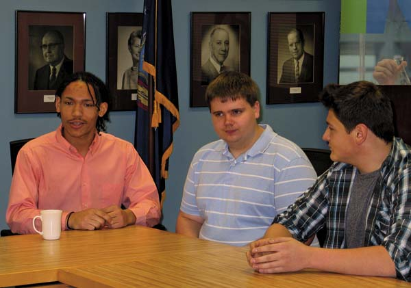 Juniors Ryan Kamanu, Josh Scott and Hunter Fifield speak at Fulton Montgomery Community College about their first year studying at FMCC under the PTECH program.  (The Leader-Herald/Kerry Minor)