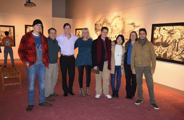 From left, Fulton-Montgomery Community College alumnus Ben Chapin; fine arts professor and gallery director Joel Chapin; Tyler Schrader, FM alumnus; Schrader's mother, Kaye Schrader; FM alumnus Lucas Chapin; FM alumna Hikari Morakowa; FM alumna Linda Wasson Chapin; and Ian Chapin at the closing reception of Schrader's exhibit. (Photo submitted)
