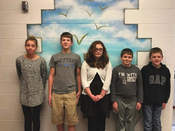 The Broadalbin-Perth Middle School students of the month for December are pictured above. The word for the month was honesty, which was used to pick the students. From left,  Gabriella Lanzi, sixth grade; Richard Mancini, eighth grade; Grace Trinkle, sixth grade; Logan Reed, seventh grade and Cody Korona, seventh grade.  (Photo submitted)