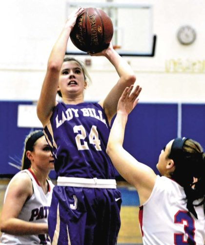 Johnstown's Claire Guzielek (24) shoots over Broadalbin-Perth's Lola DiCaterino during Friday's Foothills Council South Division game at Broadalbin-Perth High School. (The Leader-Herald/Bill Trojan)