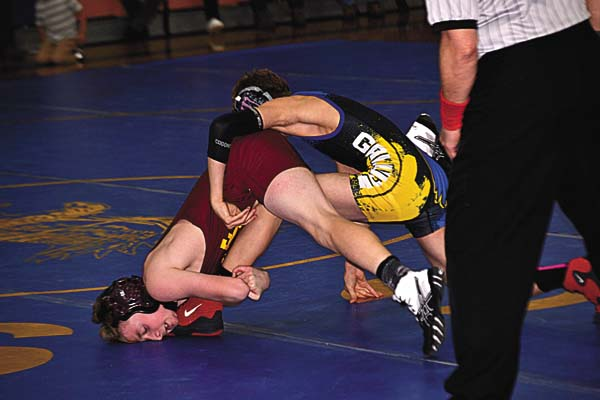 Fonda-Fultonville's Justin Kearns, right, battles Galway's Joey Scheeren in their 99-pound bout during a Western Athletic Conference match on Jan. 26. Both Kearns and Scheeren are seeded among the top six at 99 pounds for today's Section II Division II Tournament at the Glens Falls Civic Center. (The Leader-Herald/Paul Wager)