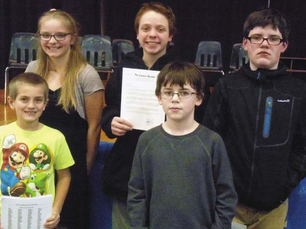 The students representing Wheelerville in the Fulton County Spelling Bee sponsored by The Leader-Herald are Michael Vetrano, Chloe WIlliams, Christopher Robinson, Torin Steele and Ezryn Brooker. (Photo submitted)