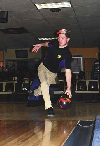 Mayfield's Anthony Brandow bowls during a Western AthleticConference match against Fonda-Fultonville at Arterial Lanes inGloversville onNov. 18. Brandow recently was named a WAC first-team all-star. (The Leader-Herald/Bill Trojan)