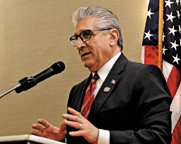 Keynote speaker State Sen. James Tedisco said he'll make sure he  represents the people of the 49th Senate  District. He said he plans to open a Fulton County  office later this month. (Bill Trojan/ The Leader-Herald
