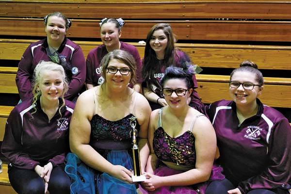 The Gloversville High School Winter Guard team with its second-place trophy. Back, from left, Micheala Tucker, Chloe Van Hoesen and Alexis Baird. Front, from left, Autumn Chase, McKenzie Paul, Nia Person and Madison Paul. (Photo submitted)