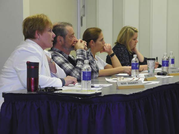 Greater Johnstown School District Board of Education members listen during a board budget workshop Thursday night at Johnstown High School. From left are: Kathy Dougherty, Ronald Beck, Angela Clizbe and Jennifer Sponnoble.(The Leader-Herald/Michael Anich)