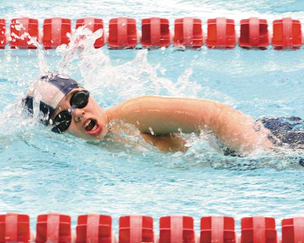 Nathaniel Andersen of the Amsterdam Sea Rams swims the freestyle at the Cabin Fever Invitational at Ballston Spa High School on Jan. 21. (Photo contributed by Sarah Dzikowicz)
