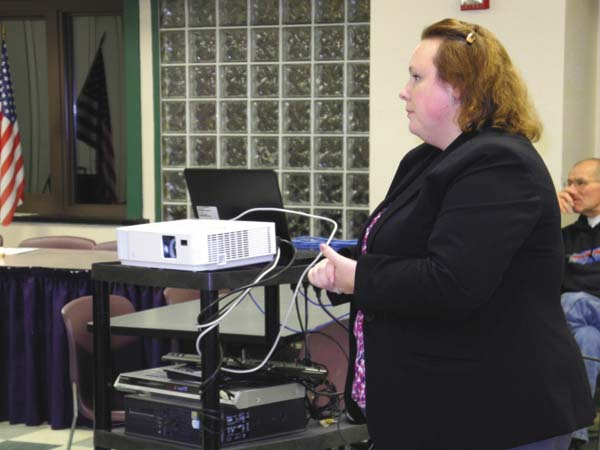Sara Lewis, director of pupil services and special programs for the Greater Johnstown School District, gives a presentation to the Board of Education Thursday night at Johnstown High School. (The Leader-Herald/Michael Anich)