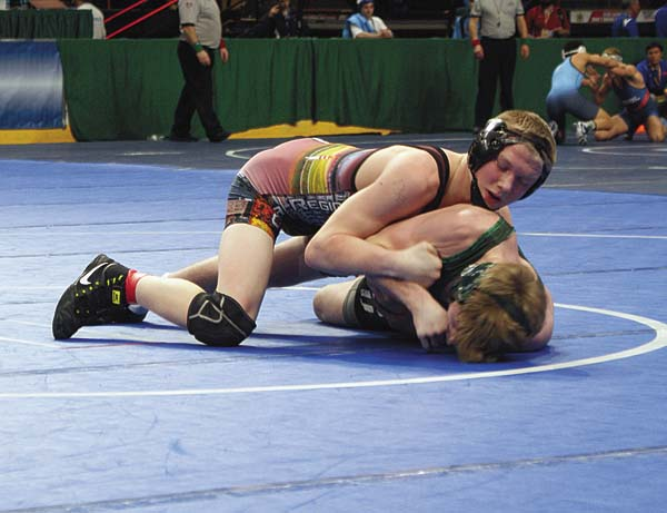 Galway's Dillan Palaszewski, top, controls the action during his 138-pound bout with Locust Valley's Jack Ward in a Division II Tournament match at the New York State Public High School Athletic Association Wrestling Championships at the Times Union Center in Albany on Friday. (Photo contributed by Valerie Wager)