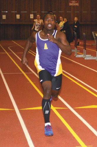 Amsterdam's Kevon Boucaud competes in a Tri-County Indoor Track League meet at Union College in Schenectady on Jan. 21. Boucaud was second (NYSPHSAA) and fourth (Federation) in the 55-meter dash and sixth (NYSPHSAA) and eighth (Federation) in the long jump at the New York State Public High School Athletic  Association Indoor Track and Field Championships at Ocean Breeze Athletic Complex in State Island on Saturday. (The Leader-Herald/James A. Ellis)