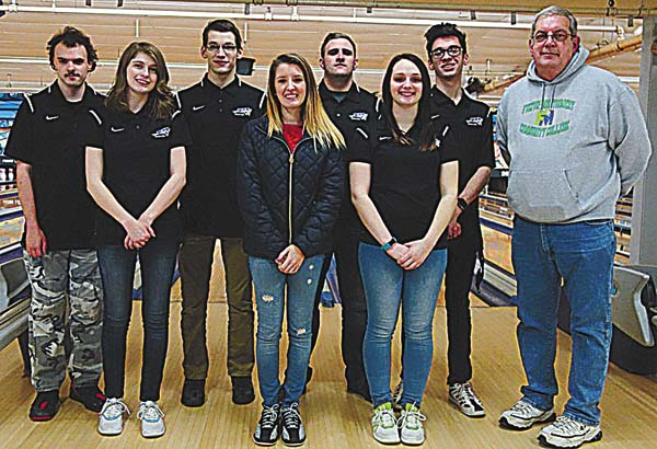 Members of the Fulton-Montgomery Community College bowling team, from left, Damian Sullivan, Shirley Glynn, Daniel McCoy, Sydney Palmatier, Charlie Cusano, Kendra Sweet, Donavon Derenzo and head coach Tom Rathbun after competing at the NJCAA National Tournament in Buffalo. Matt Frisch not pictured.  (Photo courtesy of Meghan Power, FMCC)