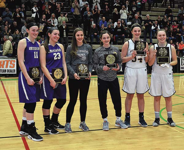 The Section II Committee awarded plaques to the members of the Class A all-tournement team following Friday's championship game at Hudson Valley Community College. Receiving the awards were, from left, Amsterdam's Nina Fedullo and Guilianna Pritchard, Gloversville's Harmony Philo, Queensbury's Hope Sullivan, Averill Park's Kelsey Wood and tournament MVP Kat Stackrow. (The Leader-Herald/James A. Ellis)