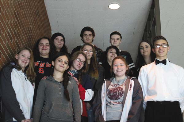 Students from Gloversville High School recently published a small book of original poems. The students are: Front row, from left, Moira Munn, Jewel Berkowitz, Cassidy Wildermuth and Ryan Smith. Middle row, from left are, Olivia Coffin, Emily Montana, Jacqueline McSpirit, Abigail Jock and Molly Loose. Back row, from left are, Leah Darbin, Charles Ryan and Austin Wells.  (Photo submitted)