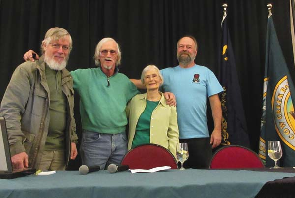State of the Beaver 2017 moderator Stanley Petrowski with Owen and Sharon Brown of Beavers: Wetlands & Wildlife, and conference planner Leonard Houston, after Brown's program in Oregon. (Photo submitted)