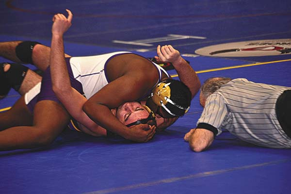 Johnstown's Na'jon Subik, top, put the finishing touches on his pinfall victory over Duanesburg's Jake Karandy during their 220-pound bout at the Section II Division 2 Tournament at the Glens Falls Civic Center on Feb. 11. Subik recently was named a first-team Foothills Council all-star. (The Leader-Herald/Paul Wager)