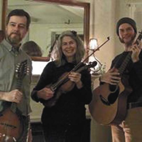 Members of the Toss the Feathers Irish band are shown, from left, Dave Smith, Amy Schoch and Matt Young will perform at The Revival in Wells on March 26. (Photo submitted)