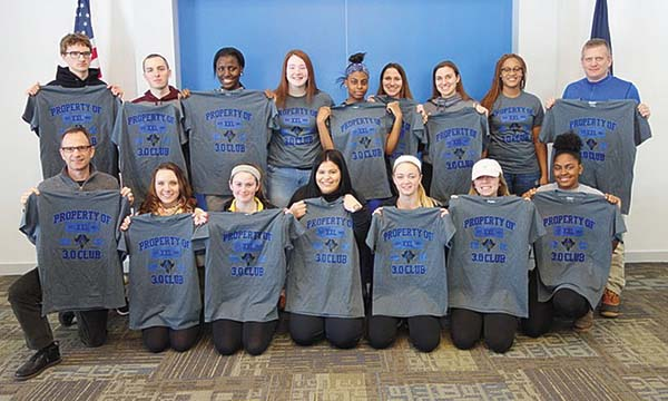 The Raiders' 3.0 Club was honored at a luncheon Thursday. In the back row, from left, are Cameron Monks, Justin Putnam, Miriama Jaw, Miranda Nethaway, Sabriana Franck, Brittany Orminski, Emily Orminski, Charlene Moreira and athletic director Kevin Jones. In the front row, from left, are Chris Rogers, coordinator for student-athlete academic success, Jenna Putnam, Gabrielle Smith, Ashley Garcia, Julie Hampton, Emily Towne and Chantel Vactor. (Photo submitted)