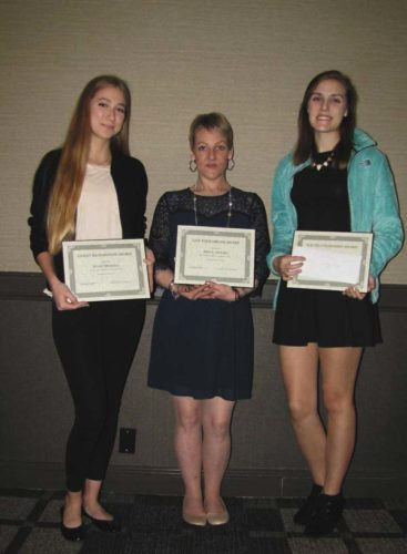 From left, Juliet Mancini, Aimee Gerard and Emily Clizbe were given cash awards for their accomplishments by the Soroptomists International of Fulton and Montgomery counites. (Photo submitted)