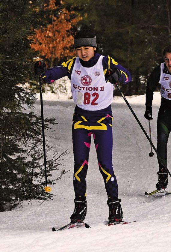 Mayfield's Maggy Lambo skis during the Mayfield Invitational at Lapland Lake in Benson on Jan. 25. Lambo recently was named a second-team Section II all-star. (The Leader-Herald/Bill Trojan)
