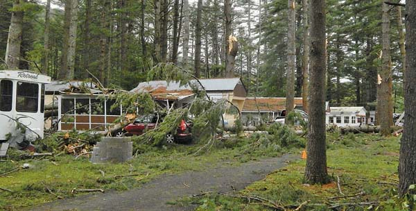 A powerful storm knocked down trees and caused widespread devastation to Pine Lake Park last August. (The Leader-Herald file photo)