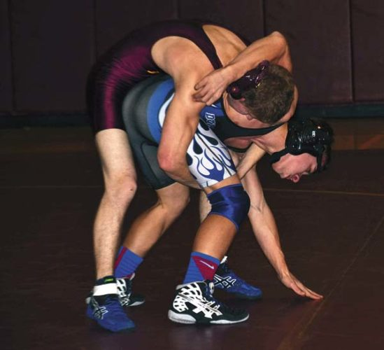 Dolgeville's Treay Jaquay, right, battles Fonda-Fultonville's Josh Hemdinger during their 113-pound bout in a Dec. 13, 2016, dual meet. Jaquay recently was named a Center State Conference all-star. (The Leader-Herald/Paul Wager)
