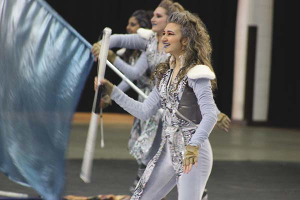 Members of the Johnstown High School Varsity Winter Guard perform recently. The team won the gold medal at a competition at Shenendehowa High School in Clifton Park on Saturday. (Photo submitted)