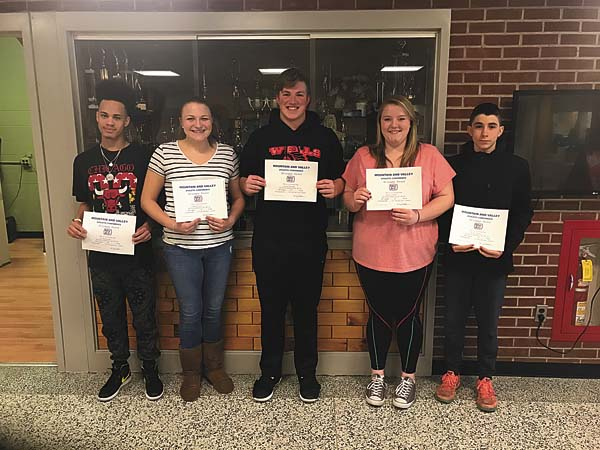 Several Wells boys and girls basketball players were among those named to the 2016-17 Mountain and Valley Athletic Conference all-star team. Pictured, from left, are Tre Zimmerman, Sierra Mauro, Shane Kennedy, Erika Foster and Justin Foster. (Photo submitted)