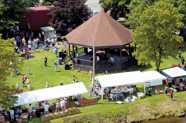 An aerial view of Railfest at Trail Station Park in Gloversville on Aug. 2, 2015 (The Leader-Herald/Bill Trojan)