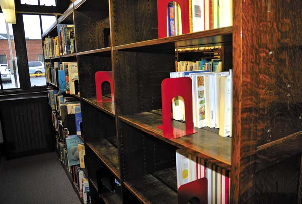The Leader-Herald/Bill Trojan    Books have been removed from many of the shelves as they prepare to make the move at the Gloversville Public Library in Gloversville on 4/6.
