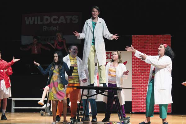 """Students from Gloversville Middle School drama club have a dress rehersal of """"Disney High School Musical Jr."""" Today at 2 p.m. is the last time to see the production. (Photo submitted)"""